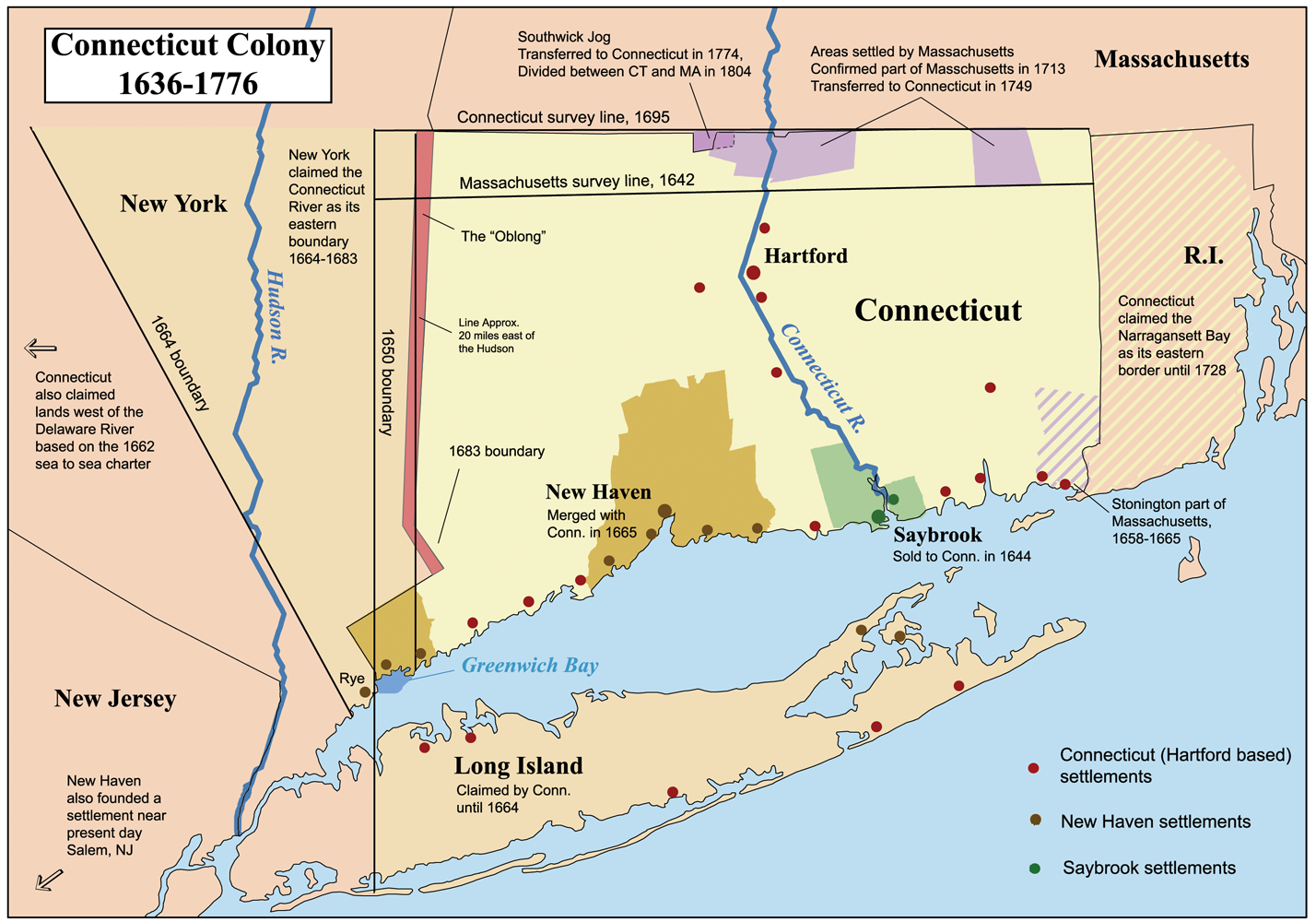 The Tree of Life – MAP of CONNECTICUT COLONIES (1636-1776)