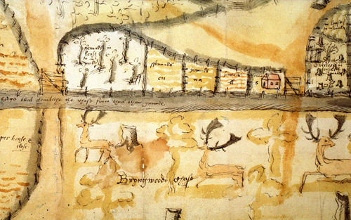 Map made by Edmund Walter in 1577 justifying his enclosure of Bringe- wood. This map seems to have been made as a result of a dispute over the occupancy of en- closures. Edmund Wal- ter was an important person in Ludlow and later chief justice of South Wales.